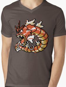 Red Gyarados Retro Mens V-Neck T-Shirt