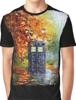 Autumn British Blue phone box painting Graphic T-Shirt