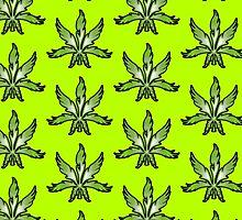 Cannabis Leaf Abstract Green by Sookiesooker
