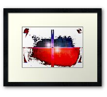 Red and Blue on White Framed Print