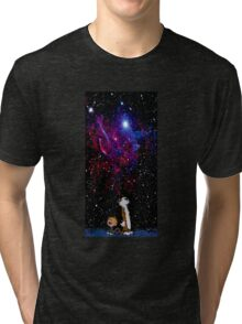 calvin and hobbes night sky nebula Tri-blend T-Shirt