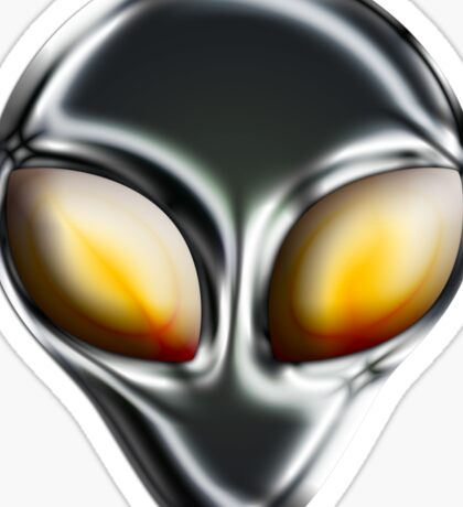 Metal Alien Head Sticker