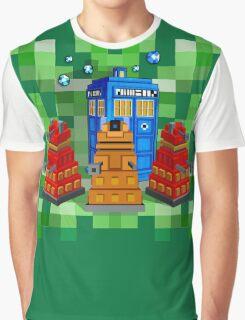 8bit Robot Droid Dalek with blue phone box Graphic T-Shirt