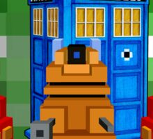 8bit Robot Droid Dalek with blue phone box Sticker