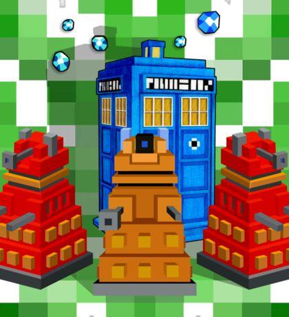 8bit Robot Droid Dalek with blue phone box Sticker