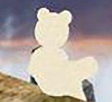 teddy bear watching the sky Sticker