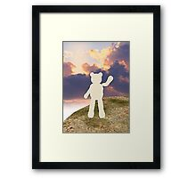 teddy bear waving good bye to the clouds Framed Print