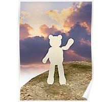 teddy bear waving good bye to the clouds Poster