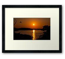 Bird Flying Through the Sunset Framed Print