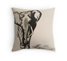 Freehand Sketch - Majestic Elephant Throw Pillow