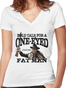 """""""One Eyed Fat Man"""" Women's Fitted V-Neck T-Shirt"""