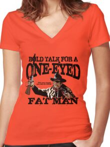"""One Eyed Fat Man"" Women's Fitted V-Neck T-Shirt"