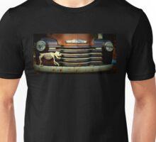 Front End Grille Of 1953 Chevrolet Advantage Design Truck With Dog Skeleton Unisex T-Shirt