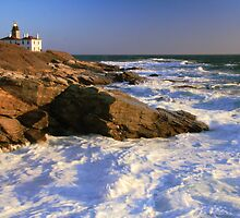 Beavertail Point Lighthouse Seascape by Roupen  Baker