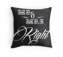 shabby chic vintage chalkboard scripts Mr and Mrs Throw Pillow