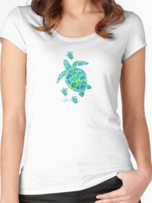 Sea Turtle with babies Women's Fitted Scoop T-Shirt