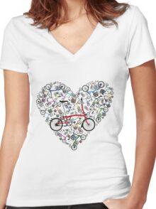 I Love Brompton Bikes Women's Fitted V-Neck T-Shirt