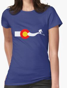 Ski Colorado Flag Womens Fitted T-Shirt