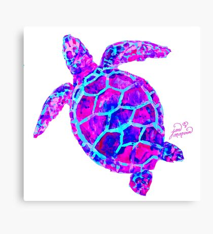 Sea Turtle Pink and Blue Canvas Print