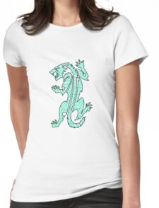 Tiger Strikes Teal  Womens Fitted T-Shirt