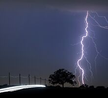 Tri-Colored Lightning (Red, White and Blue) by Mark Van Scyoc