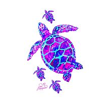 Sea Turtle with babies pink and blue by Jan Marvin