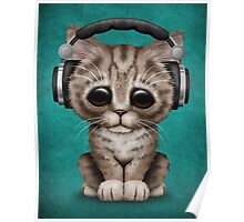 Cute Kitten Dj Wearing Headphones on Blue Poster