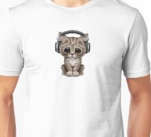 Cute Kitten Dj Wearing Headphones on Blue Unisex T-Shirt