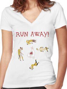 Run Away! Women's Fitted V-Neck T-Shirt