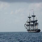 HMS Surprise in the distance by Katherine Pogue