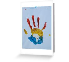 Red, Yellow, and Blue Handprint Greeting Card