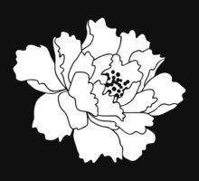White Japanese Peony Flower Kids Tee