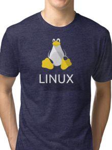 Tux the Penguin flatshaded Tri-blend T-Shirt