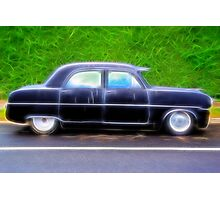 Black Retro Ford Car on Road Photographic Print