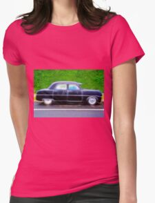 Black Retro Ford Car on Road Womens Fitted T-Shirt