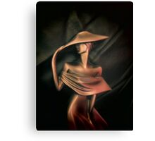LADY IN GOLD ON A WINDY DAY - THROW PILLOW Canvas Print