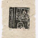 Petite Histoire d'Intérieur - Linocut (for a book ?) by Pascale Baud