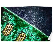 Electronic Green Neon Computer Board Poster