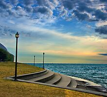 Sunrise at the Doane Observatory (Lake Michigan) by James Watkins