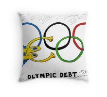 Binary Options News Comic of Olympic Debt Throw Pillow