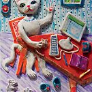 Miss Kitty at her computer by didielicious