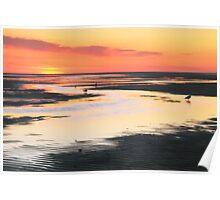 Tidal Flats at Sunset Poster
