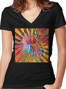 Carnival Glass Abstract Women's Fitted V-Neck T-Shirt