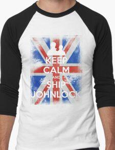 KEEP CALM and Ship Johnlock - UJ - White Men's Baseball ¾ T-Shirt
