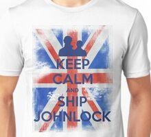 KEEP CALM and Ship Johnlock - UJ - Blue Unisex T-Shirt