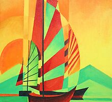 Chinese Junks Sail to Shore by taiche