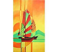 Chinese Junks Sail to Shore Photographic Print