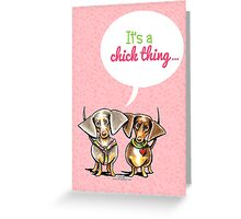 Girly Dachshunds It's a Chick Thing Invitation Greeting Card