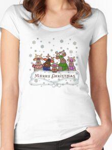Will Work For Santa Reindeers Merry Christmas Cofee Mug Women's Fitted Scoop T-Shirt