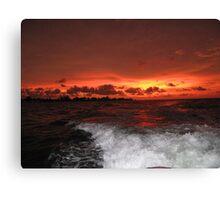 Wake at sunset Canvas Print